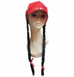 Καπέλο κόκκινο με μακριές πλεχτές κοτσίδες [10502098]