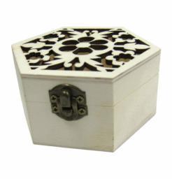 Ξύλινο εξάγωνο αλουστράριστο κουτί σκαλιστό με λουλούδια [20601268]