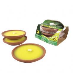 Σετ 3 κεριά σιτρονέλα σε πήλινο πιατάκι [77537884]
