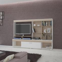 MONTREAL Σύνθεση TV 200x40x141 Χρώμα Λευκό-Sonoma (Με Διαθέσιμο Χώρο για την TV 100x72). IR-MONTREAL