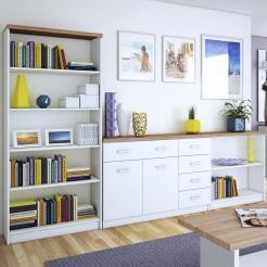 Σετ μπουφέ με βιβλιοθήκες, 3 τεμ. 280x33x183, Χρώμα Λευκό-Sonoma. TO-TOPMIXSET4