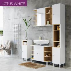 Σετ Μπάνιου Lotus σε χρώμα Λευκό-Σονόμα με πάγκο μπάνιου , καθρέπτη, ντουλάπι και  στήλη μπάνιου, SET-LOTUSWH