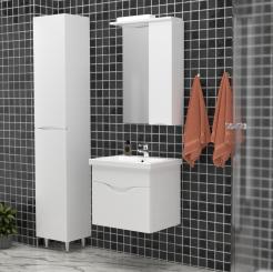 Σετ Μπάνιου SMILE, 60 εκ. Με έπιπλο με νιπτήρα κρεμαστό, καθρέφτη και στήλη μπάνιου ψηλή με πόδια. SA-SMILESET01
